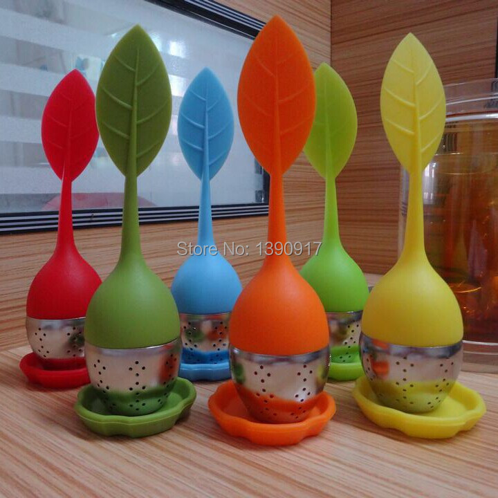 Leaf Silicone Tea Infuser withe Food Grade make tea bag filter creative 304 Stainless Steel Tea Strainers(China (Mainland))