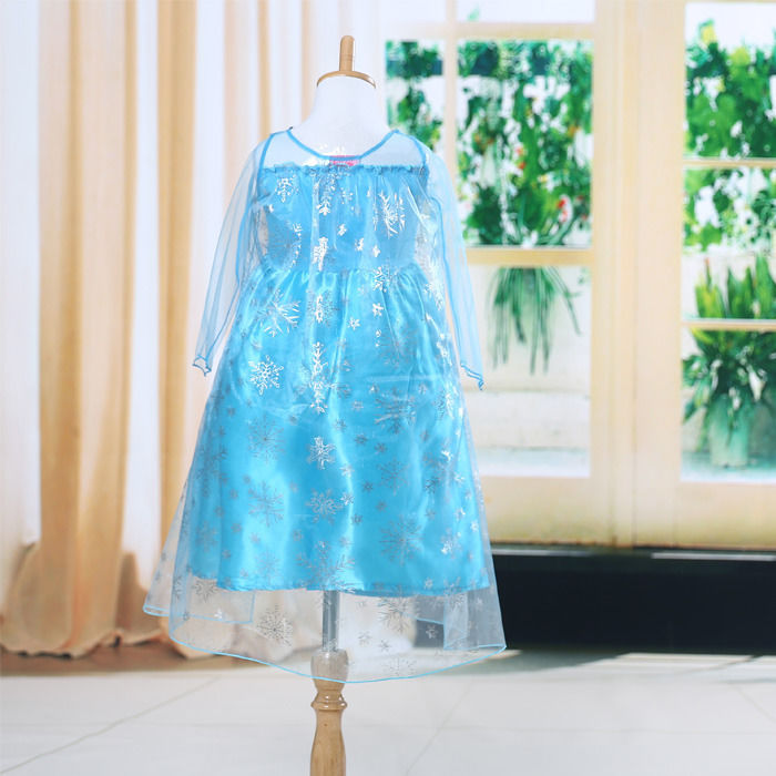 Fashion Blue Children Baby Girls Kids Clothing Dresses Princess Cartoon Movie Up Blue Gown Cosplay Dress Girls Summer 3-8Y(China (Mainland))
