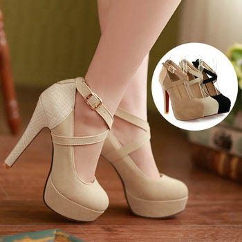 Sexy Cross Strap Platform Red Bottom High Heels Women Shoes Fashion Shallow Mouth Thin Heels Women Pumps Ladies Evening Shoes