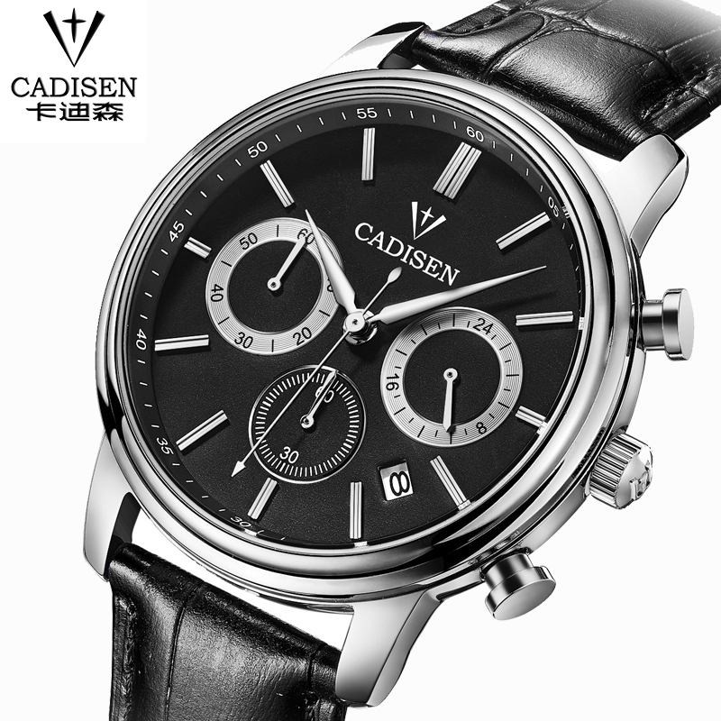 Brand watch CADISEN Quartz Watch Luxury Leather Men Watch Fashion leisure Wristwatch Clock Water proof relogio masculino watches(China (Mainland))