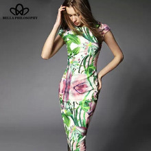 2015 spring summer floral flowers printing new women Slim bodycon green and fuchsia long dress from work to causal(China (Mainland))