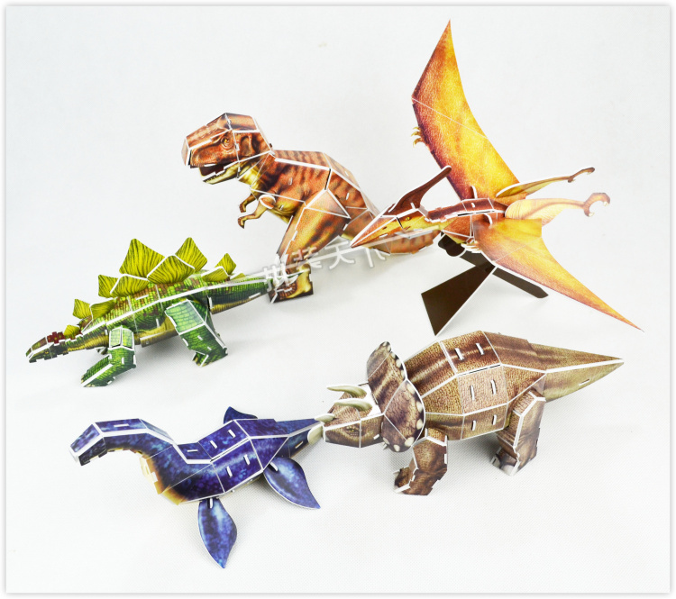 Educational toys five styles cartoon dinosaur 3d jigsaw puzzle assembly model paper building game creative children gift 1 pc(China (Mainland))