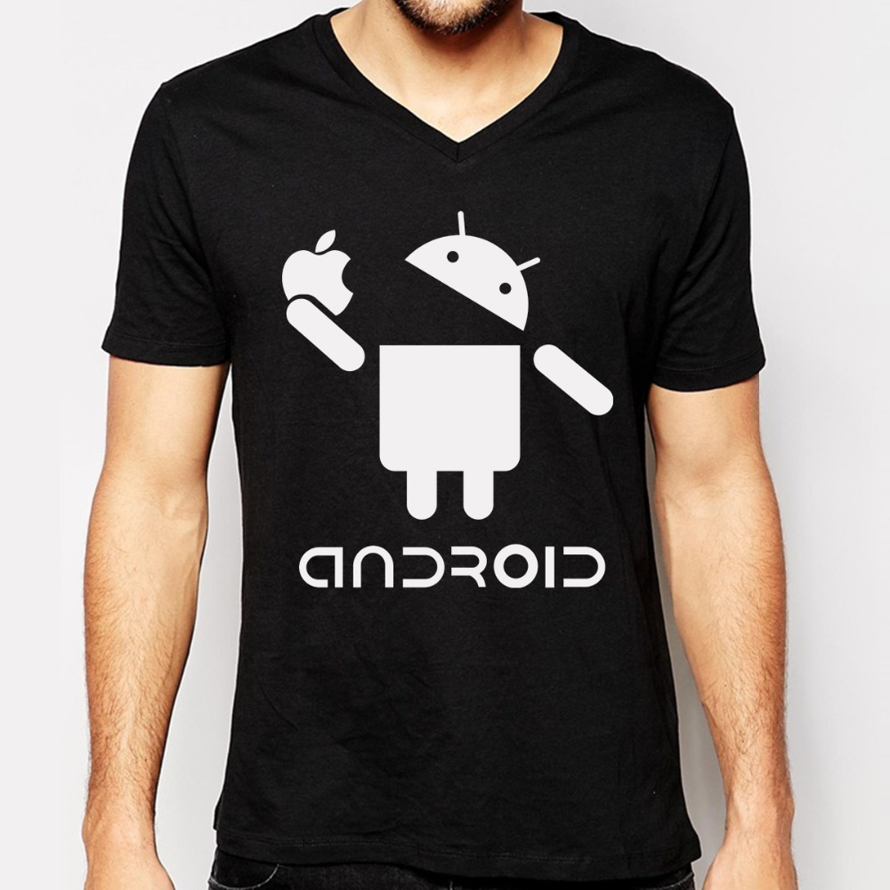 new fashion funny android men t shirts cotton v neck short