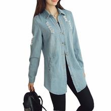 2016 Autumn Women Long Sleeve Denim Jacket Women Basic Coats Fashion Holes Women Long Denim Jacket Outerwear Plus Size S-4XL