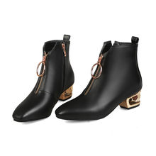 MEMUNIA 2020 commercio all'ingrosso della caviglia stivali per le donne di modo della chiusura lampo sqaure tacchi stivali autunno inverno scarpe donna stivali nero(China)