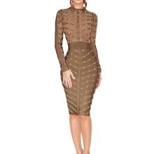 2016 New Women's Winter Green Long Sleeve Studded Olive Mesh High Neck rayon Bandage Bodycon Dress celebrity bandage dress 2269(China (Mainland))