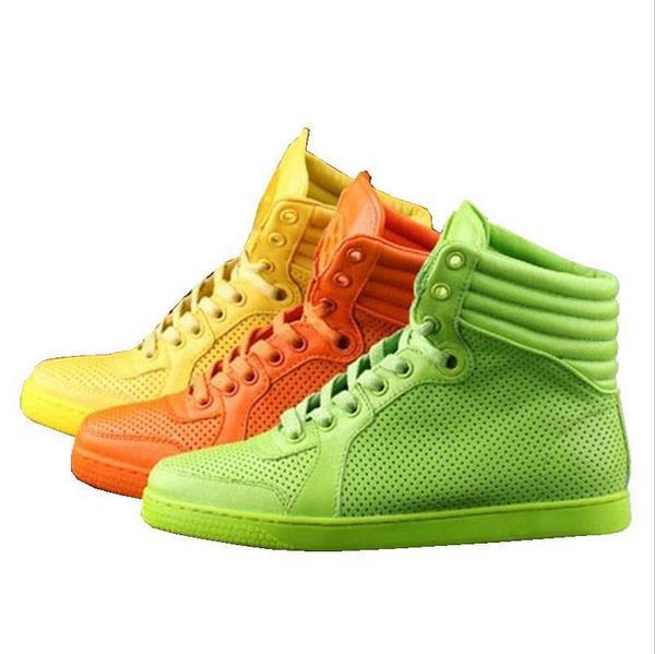 2015 de alta top sapatos baixos moda laço de couro outono laranja neon verde sapatos de alta qualidade new mulheres e homens de lazer sapato(China (Mainland))