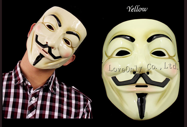 High quality Fawkes Maske V wie Guy Fawkes Vendetta Mask Halloween Cosplay party mask V Vendetta Anonymous(China (Mainland))