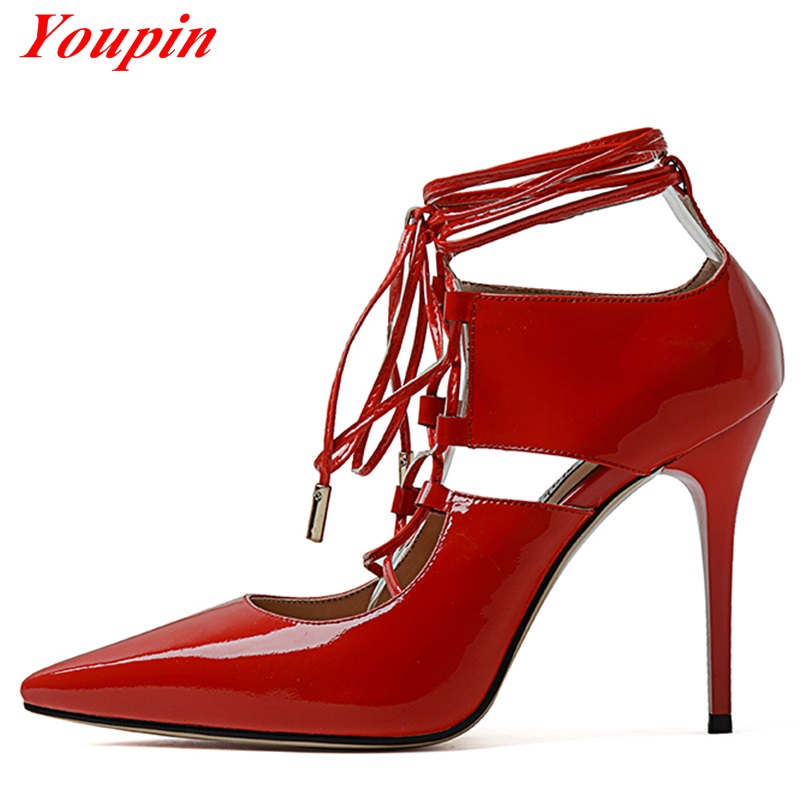 Sheepskin Lnsole Shallow Mouth Cross Straps High Heels 2016 New Full Grain Leather Pumps European Style Sexy Female Party Shoes