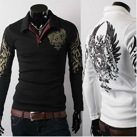 2014 Hot Eagle Embroidery Design Fashion Designer Men's Long-sleeved Polo Shirt Polo Men Sweater Pullovers 5505M~XXL(China (Mainland))