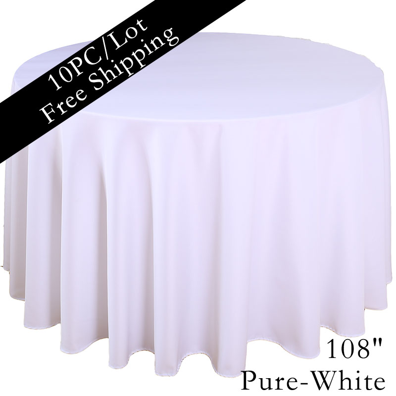 10PCS/Lot 2016 Polyester Plain Dyed Pure White 108'' Table Cloth for Wedding Banquet Marriage Party Decoration(China (Mainland))