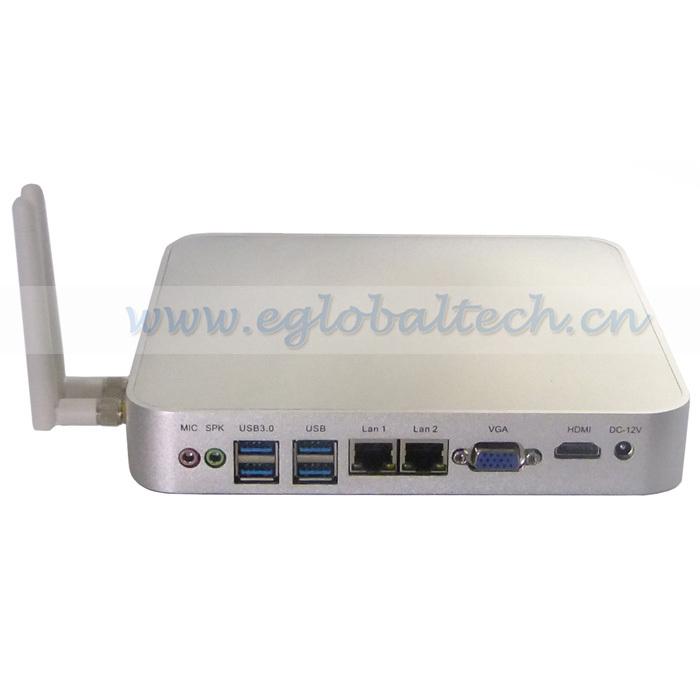 Free Shipping DHL Mini Fanless PC 2GB RAM 160GB HDD Wireless Micro PC Windows XP/ Windows 7 Alloy ITX Case Dual Core Mini PC(China (Mainland))