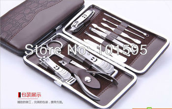 12 in 1 Nail Clipper Kit Nail Care Set Pedicure Ear pick Utility Stainless Steel Manicure Set Tools Free Shipping