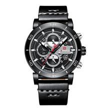 NAVIFORCE Sport chronographe hommes montre mode analogique cuir armée militaire homme Quartz horloge Relogio Masculino 2018 bleu Timing(China)