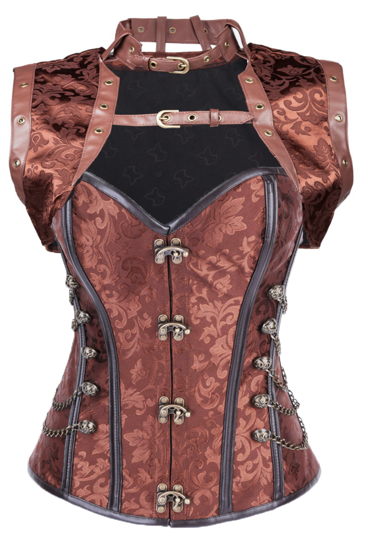 High quality Sexy New Brown Palace style corset Steel Bone Metal buttons corset Body sculpting Bustiers S-2XL AMR236(China (Mainland))