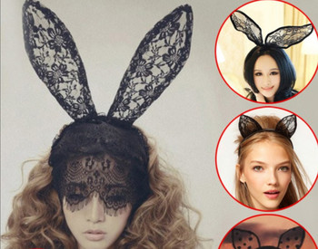 New Fashion Women Lace Rabbit Bunny Ears Veil Hair Accessories Sexy Black Mask Halloween Party Headdress Cosplay Sexy Hair Band