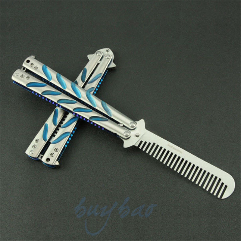 Hot Practice BALISONG METAL BUTTERFLY Trainer Multi Functional Knife Comb Sport Tool Blue &amp; White<br><br>Aliexpress