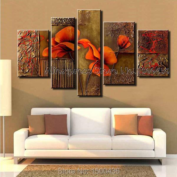 Pintado a mano abstracto de flores de color naranja lienzo - Pinturas modernas para sala ...