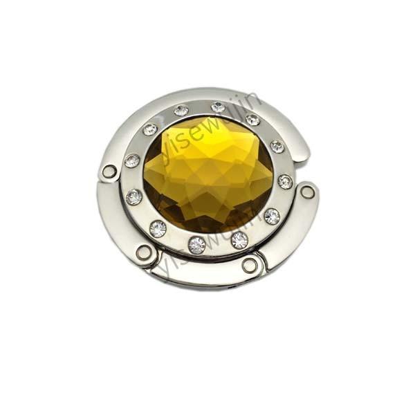 Foldable Round Shape Metal Zinc Alloy Crystal+Rhinestone Personalized Purse Hooks Purse Hangers Hand Bag Hook Purse Table Holder(China (Mainland))