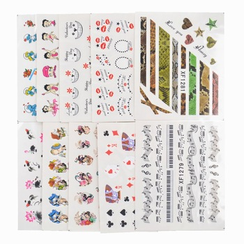 YZWLE 50 Sheets/Lot Mixed Styles Nails Art Water Transfer Printing Stickers Flower Cat Cartoon Designs Decals For Nails Salon