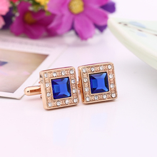 Man Cuff Links New Arrival Trendy Jewelry High Quality Exquisite Accessory Blue Rhinestone Cufflink For Party Fashion Jewelry