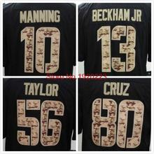 Free Shipping 56 Lawrence Taylor 13 Odell Beckham Jr 10 Eli Manning 80 Victor Cruz Black Salute TO Service Jersey(China (Mainland))