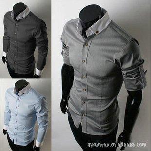 Free shipping 2015 New men's Casual Luxury Stylish Long Sleeve shirts Men Slim fit dress shirt Brazil Market hot selling shirt(China (Mainland))