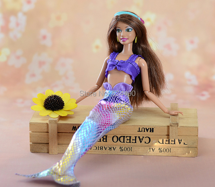 New 2015 Mermaid Costume Set Fishtail Skirt/ Blue & Pink & Purple Swimsuit Robe Clothes Outfit Garments For 1/6 Kurhn Barbie Doll