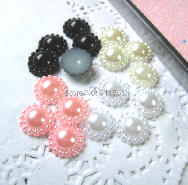 Hot Sale 400pcs/lot (13mm) Half Round Pearlized Cabochon Plastic Pearl Flower Crafts Cameo Mix 4colors For Nail Art Diy Phone(China (Mainland))