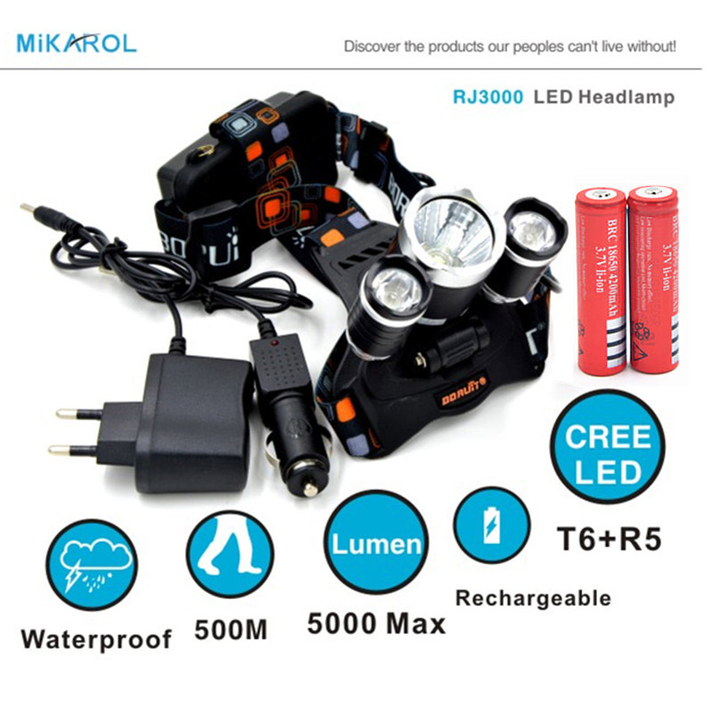 5000LM LED fishing Lights XML T6 4 Modes Rechargeable Lamp Spotlight Hunting+Charger(US/EU/UK/AU)+18650 Battery  -  JiaMing Store store