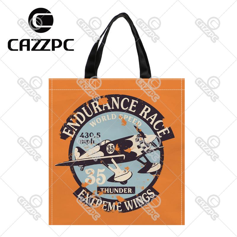 Retro orange Air Racing Badge Pattern Print Custom individual waterproof Nylon Fabric shopping bag gift bag Pack of 2(China (Mainland))