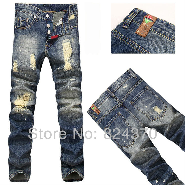Buy Men's Patchwork Designer Jeans Famous Brand P Ripped Torn ...