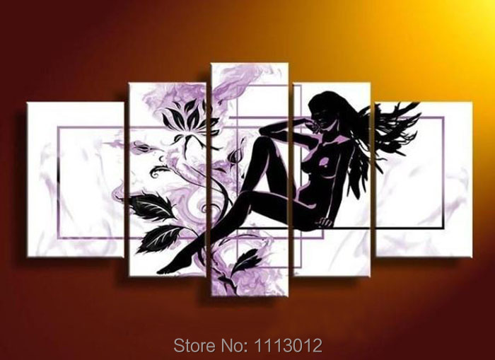 High Quality Modern Flower Nude Black Female Girl Women Oil Painting On Canvas Abstract Home Wall Picture For Living Room Sale(China (Mainland))