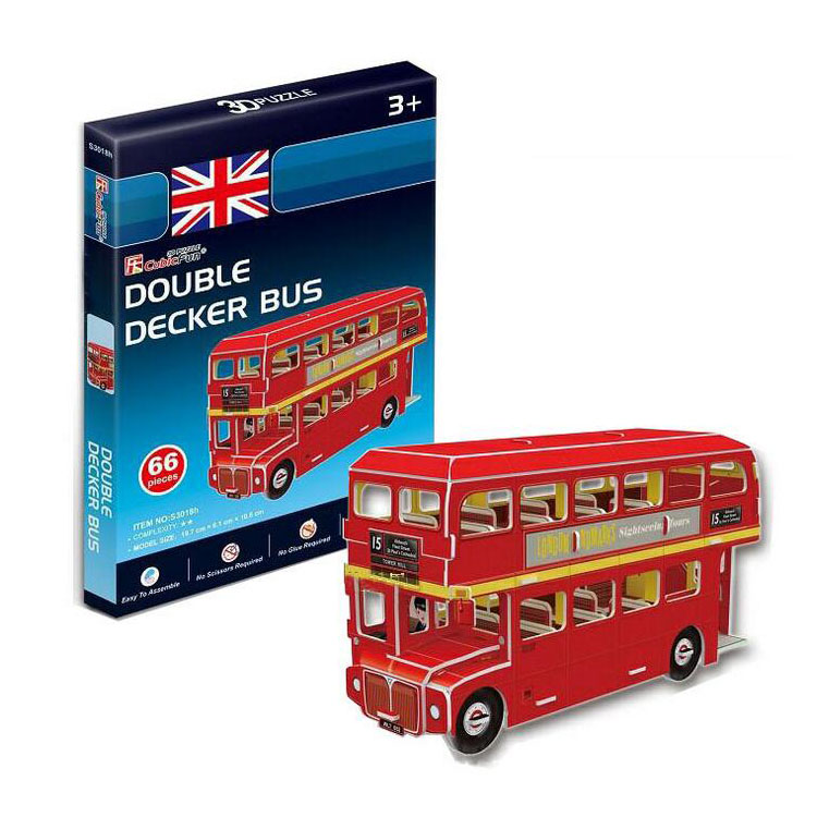 Educational 3D Model Puzzle Children Kids DIY Toy British double deck bus automobile building learning education classic(China (Mainland))