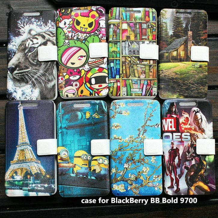 PU leather case for BlackBerry BB Bold 9700 case cover(China (Mainland))