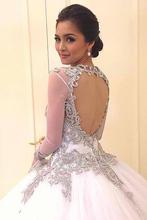 White Deep V Neck Floor Length vestido de noiva Bridal Gown Wedding Dress Luxury Crystal Ball