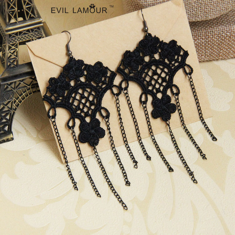 European and American retro pop female Tassel Earrings Earrings exaggerated jewelry jewelry wholesale trade bidding agent EH-32(China (Mainland))