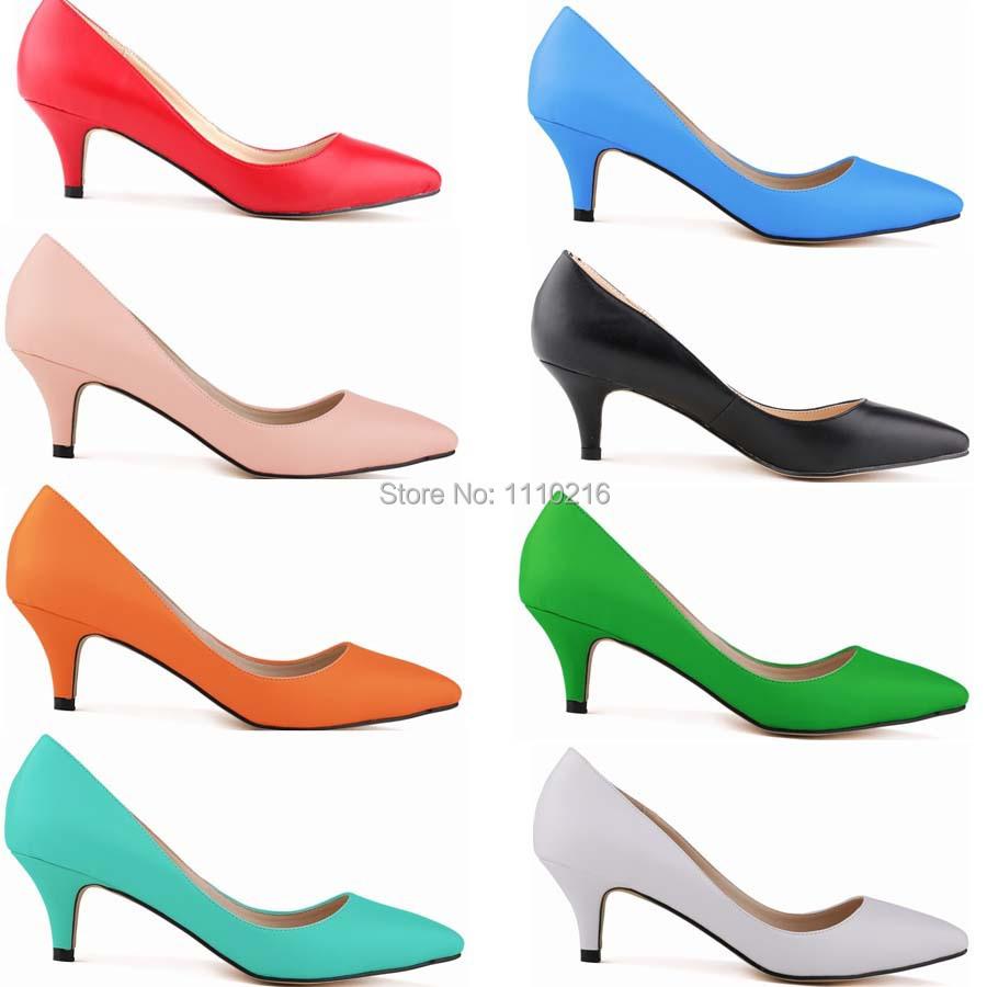Hot Pink Mid Heel Shoes