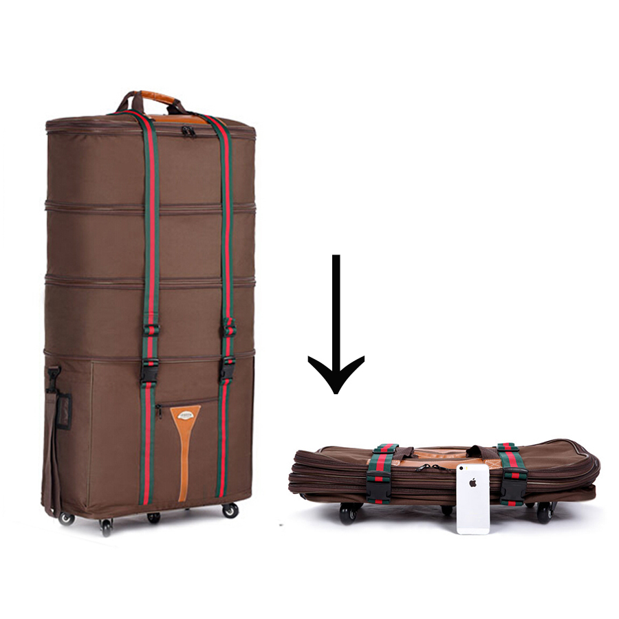 Oxford Super Large Check Box Air consignment bag Luggage travel bag Brown And Black Suitcase,2.4kg,CA019(China (Mainland))