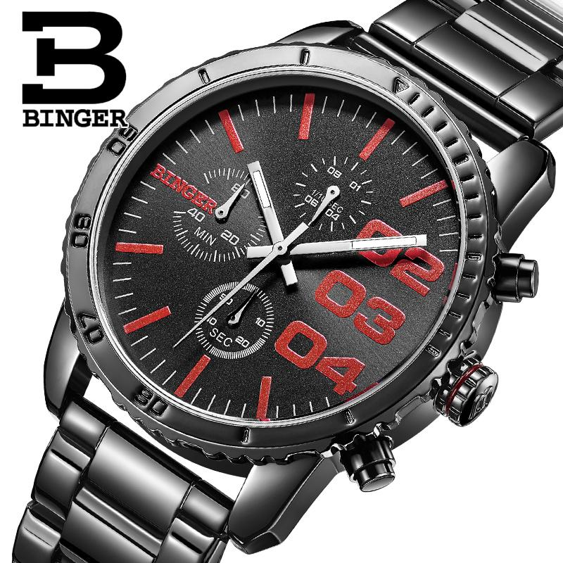 Switzerland BINGER watches men luxury brand Quartz waterproof Chronograph Stop Watch leather strap Wristwatches B9007-3<br><br>Aliexpress