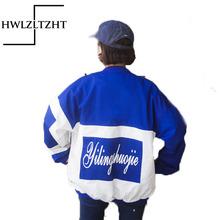 2017 Loosen Harajuku Cotton Bomber Jacket Women Spring Letter Print Coats windbreak Student Jacket Oversize Coats female(China (Mainland))