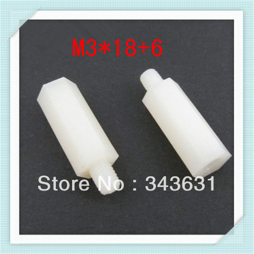 High Quality M3X18+6 Nylon  Male &amp; Female Threaded standoff ,M3 Nylon Hex Spacer  500pcs/lot<br><br>Aliexpress