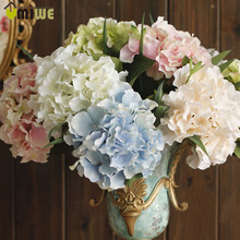 5 Heads Real Touch Artificial Fake Silk Flower Hydrangea Leaf Artificial Flowers Silk Bouquets For Home Party Wedding Decoration(China (Mainland))