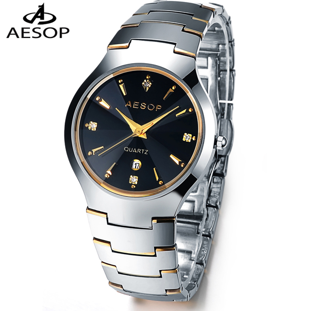 Aesop Fashion Quartz Watch All Tungsten Steel Table Waterproof Wristwatch CZ Diamond Crystal Men's Sport Military Watch 8835