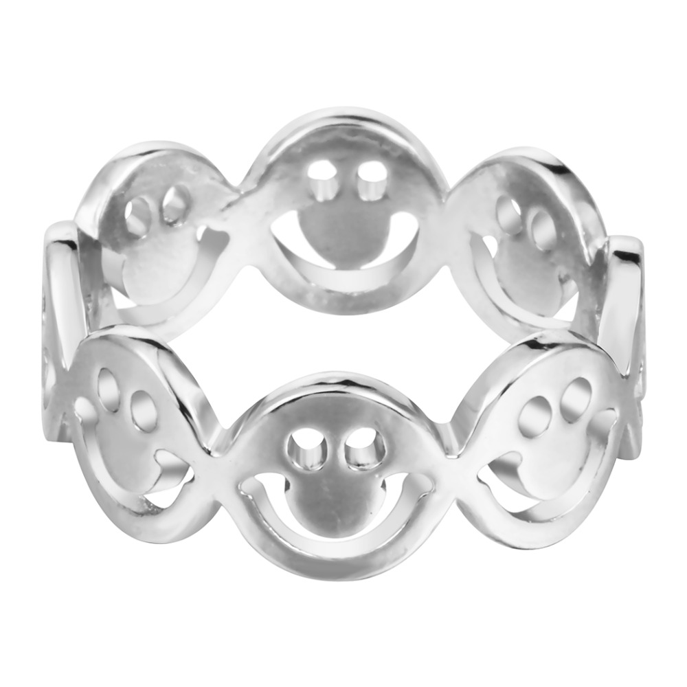 1PCS Gold Silver new arrival items fashion jewelry copper brass casting metal smiling smiley face open finger rings ](China (Mainland))