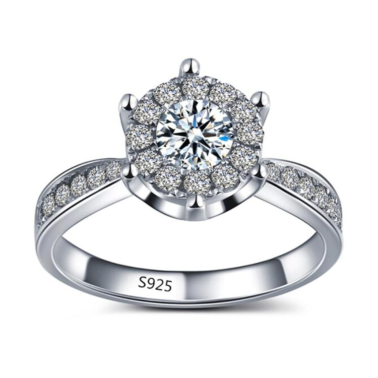Гаджет  S925 White gold filled rings for women CZ diamond jewelry wedding bijoux engagement bague trendy accessories top quality MSR093 None Ювелирные изделия и часы