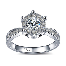 S925 White gold filled rings for women CZ diamond jewelry wedding bijoux engagement bague trendy accessories top quality MSR093