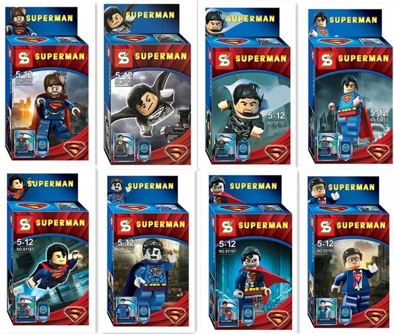 8pcs/lot SY187 Super Heroes Star Wars Alliance 8 design superman minifigures DIY construction brick block sets baby toys(China (Mainland))