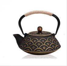 Japanese Cast Iron Teapot Uncoated Kung Fu Fish Patterns Tea Pot With Filter Creative Kettle Tetera De Hierro Fundido(China (Mainland))