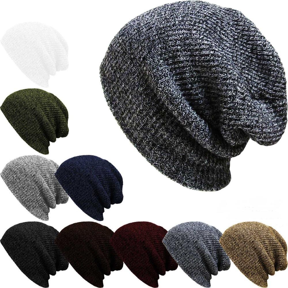 Fashion Casual Knit Hats For Women Men Baggy Beanie Hat Crochet Slouchy Plus Size Ski Cap Warm Skullies Toucas Gorros(China (Mainland))